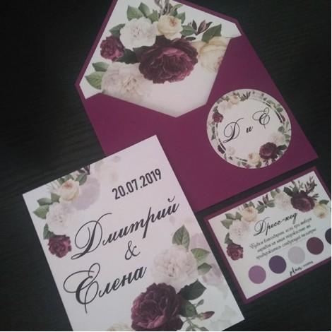 """Пригласительные в конверте """"Сливовые цветы"""""""